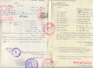 Edna's original Arabic baptism document, with an official English translation