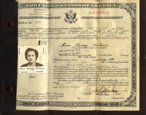 Rosa's naturalization papers