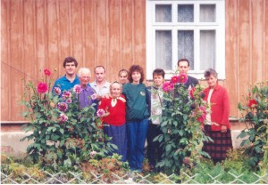Dinah Fedyna and Joe Novicky in Goluvka in the Ukraine, with Dinah's first cousin once removed (in babushka).