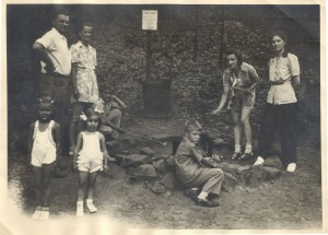 Dorothy (in the frilly white pants) with her cousins, aunt, uncle, and mother Emily at a Kielbasa Roast in Mill Creek Park, circa 1945