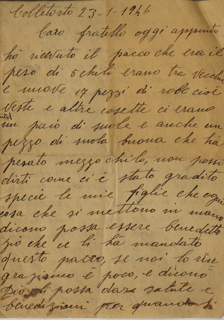 English In Italian: Letters From Home « Steel Valley Voices